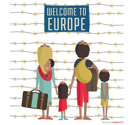 Ilustración para el catálogo de la exposición colectiva Refugiados/as: entre el ataúd y la maleta, organizada por la Asociación Profesional de Ilustradores de Valencia (APIV). Presentada en la Feria del Libro de Valencia en abril de 2016.