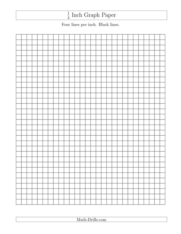 The 1\/4 Inch Graph Paper with Black Lines (A) math worksheet from - graph paper template print