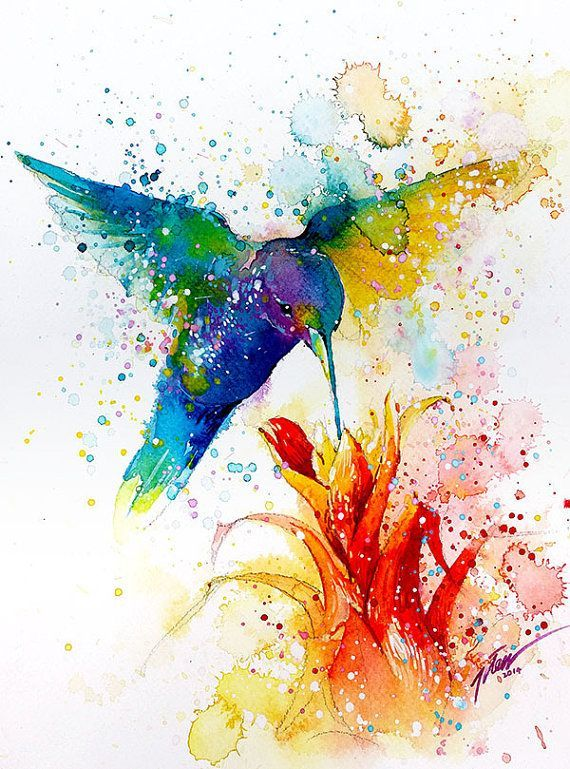 Hummingbird 2 Watercolor Painting A4 A3 Art Print