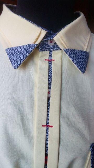 Мужская рубашка, оригинальный воротник и планочка, красота в деталях