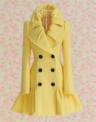 Yellow skirted pea coat - see, this is kind of what I want - except not yellow.