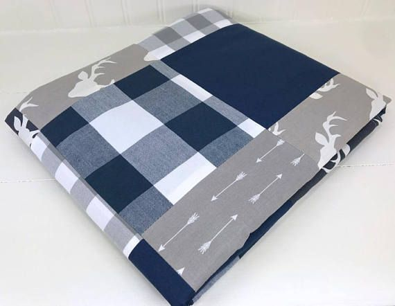 Baby Boy Blanket, Nursery Decor, Buffalo Plaid, Gingham, Minky Blanket, Woodland Nursery, Navy, Blue, Grey, Gray, Deer, Buck, Arrows, Plaid