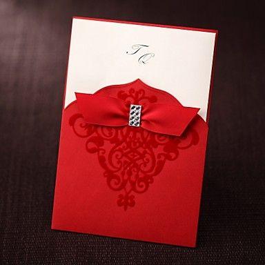 invitación de la boda con rojo velet y diamantes de imitación manga (juego de 50) – AUD $ 97.04