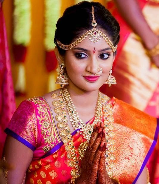 South Indian Jewellery Designs For Brides To Look Drop: South Indian Bride In Gold And Gemstone Jumkas, Long Chain