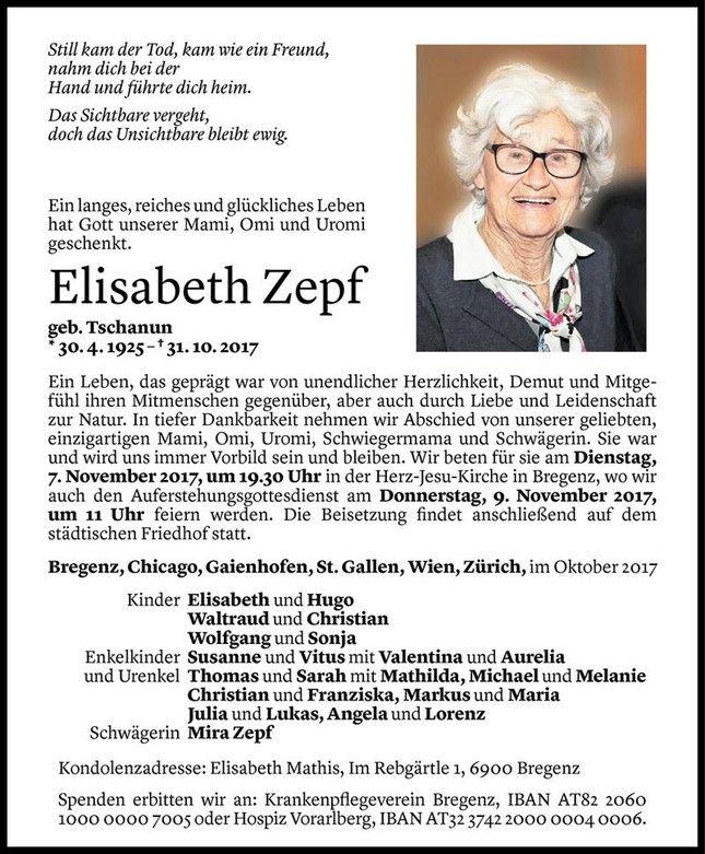Todesanzeige Für Elisabeth Zepf Vom 03.11.2017   VN Todesanzeigen