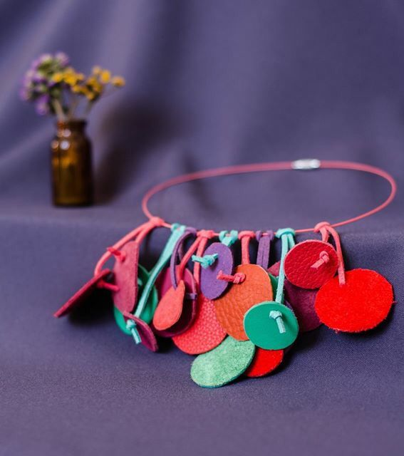 Leather-  very coloured necklace- #Haiart