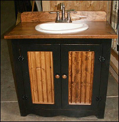 photo of black with white sink country bathroom vanity pine cabinet with white sink