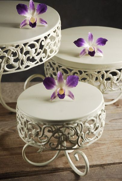 "Three Parisianne Cake & Dessert Stands Cream White Metal (12"", 9.5"" & 6"" wide) $31 set of three"