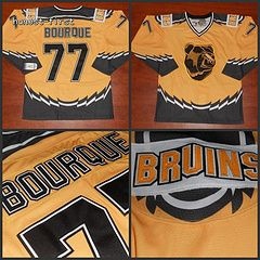 Boston Bruins #77 Ray Bourque 1995-96 3rd CCM Yellow Throwback