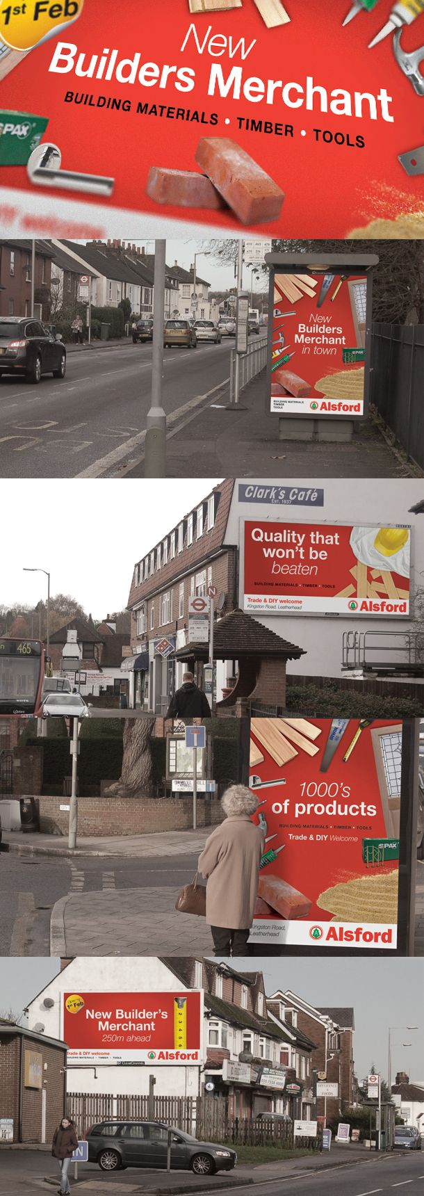 An advertising campaign for the launch of a new Alsford Timber store.