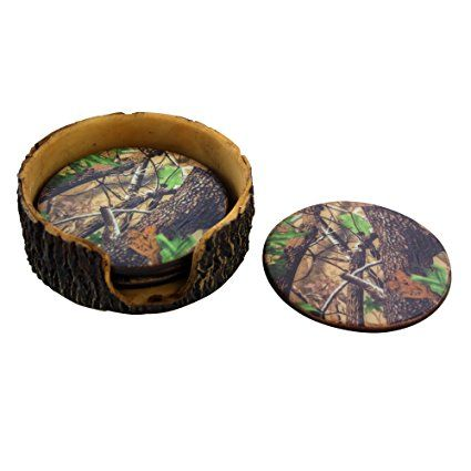 Amazon.com | Pine Ridge Old West Deer Antler Drink Coasters Set Of 4 - Home Table Beverage Coaster With Holder - Drink Glass Holder With Outdoors Rustic Cabin Theme Decor: Coasters