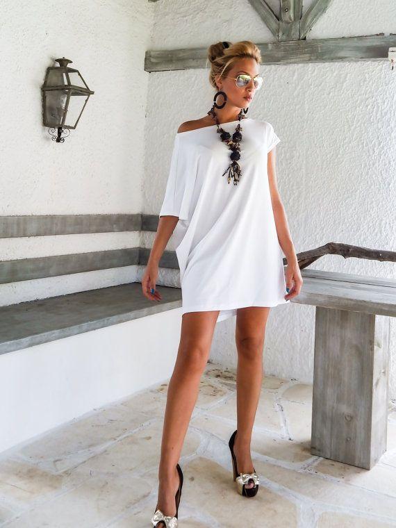 Bianco abito asimmetrico  camicia  tunica / Plus di SynthiaCouture