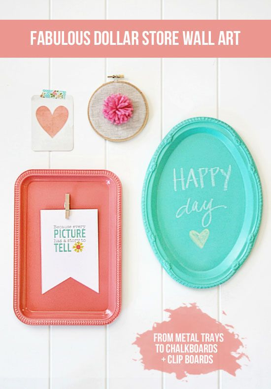 Dollar Store Wall Art Inexpensive wall decor - ForRent.com #diy #chalkpaint