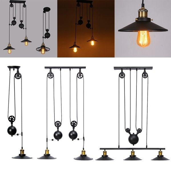 Industrial Vintage Chandeliers 1 2 3 Lights Pulley Pendant Lighting Fixture E27 Retro Retractable Ceiling Hanging Lighting Ac110 240v For Home Kitchen Farmho Hanging Light Fixtures Farmhouse Light Fixtures Hanging Ceiling Lights