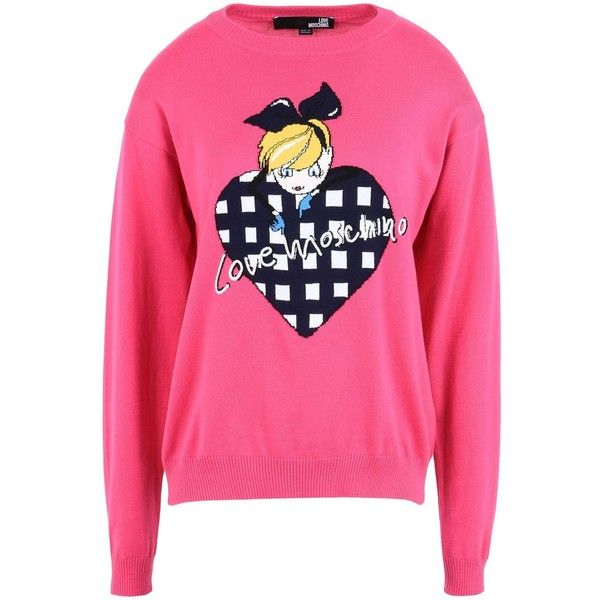 Love Moschino Long Sleeve Jumper ($125) ❤ liked on Polyvore featuring tops, sweaters, fuchsia, cotton jumper, lightweight sweaters, pink jumper, sequined sweaters and pink long sleeve top