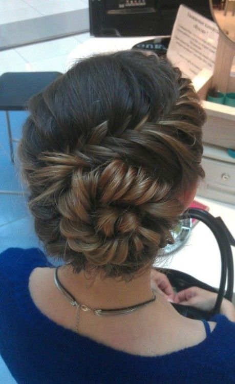 Braided Chignon Updo: Inside-Out Head Braid with Rosette Chignon This imaginative and unique braided chignon updo is perfect for making an unfussy fashion statement at work, or at any formal event! The head is an amazing mixture of beautifully blended asymmetric patterns, textures and shades which make it a totally eye-catching hair design. The hair …