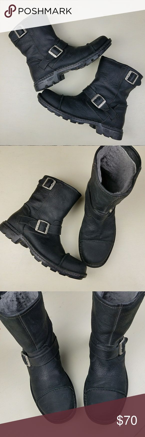 Black Leather Waterproof Ugg Boots sz 9 In great used condition - see tags for authenticity. Fabulous winter and rain boots! From a smoke-free home. UGG Shoes Combat & Moto Boots