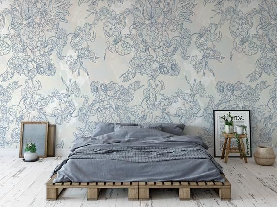 Removable Peel And Stick Wallpaper Vintage Blue Floral Etsy Peel And Stick Wallpaper Blue Floral Wallpaper Vinyl Wallpaper