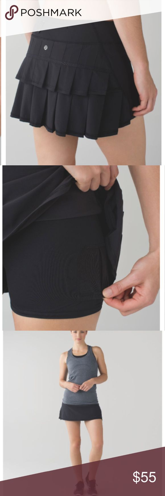 Lululemon Run: Black Pace Setter Skirt Pockets galore: secure zipper pocket on back waistband for cards and keys; two gel pockets for mid-race snacking, venting at the back of the skirt adds breathability and the pleats allow room to move, built-in shorts with sticky elastic on the hem limits stops your shorts from rolling up mid-run. Seriously great condition! Would trade for a size 10, only selling because its too big on me lululemon athletica Skirts