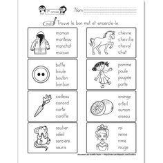 Fichier PDF téléchargeable En noir et blanc 1 page Niveau 1re année Dans cet exercice, l'élève doit encercler le mot correspondant à l'image. La feuille contient 8 images, 4 choix de mots par illustration.