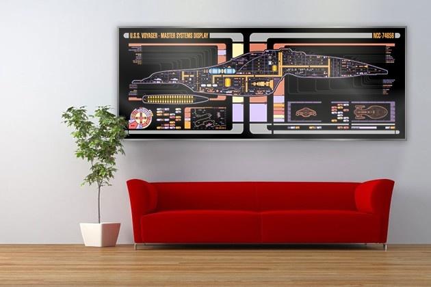 Ohhh no. I think I need this.    USS Voyager Star Trek LCARS Display 64x24 Print Large. €69.00, via Etsy.