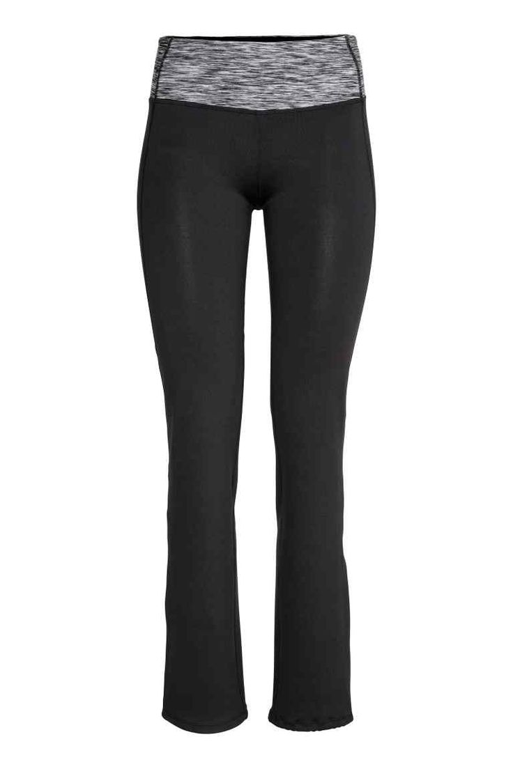 Yoga trousers: Yoga trousers in fast-drying functional fabric with wide ribbing to hold in and shape the waist, a concealed mesh key pocket in the waistband and straight legs with a drawstring at the hems.