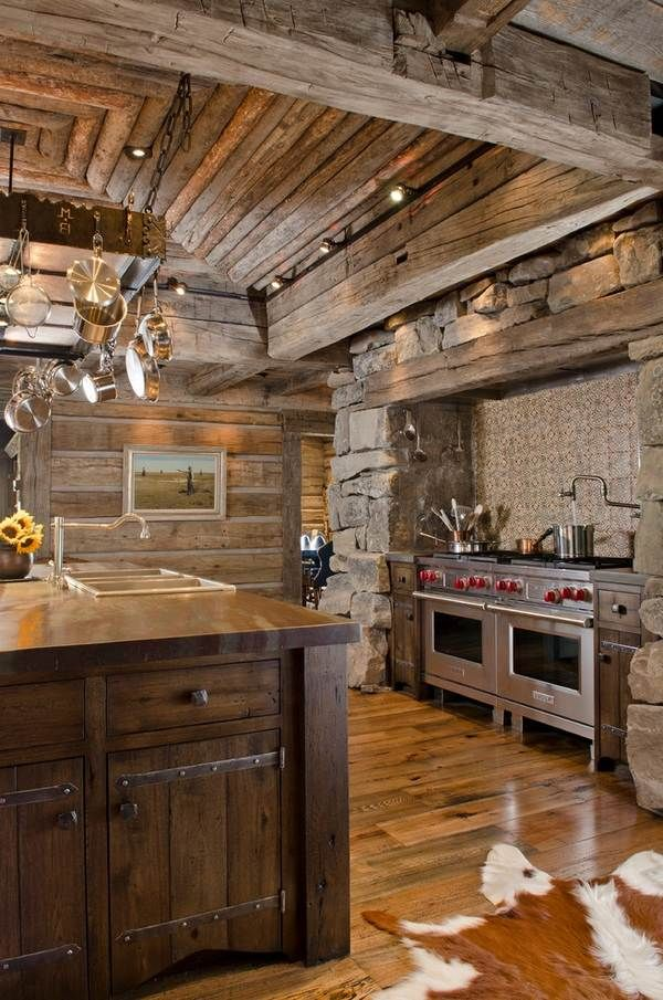 Rustic Kitchen Design Stone Wood Viking Appliances Stainless Steel Double Gas Stoves