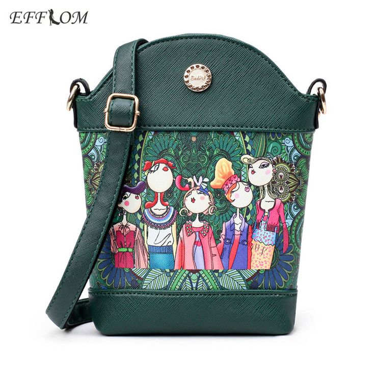 EFFLOM Women Brand Lolita Style Small Shoulder Bag Leather Crossbody Messenger Bag For Girls Flower Straw Beach Bucket Bag Green