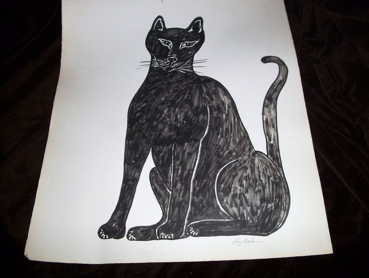 """""""Black Cat""""Drawing on Paper by Lucy Baker,Magic Marker,1989,original #ContemporaryArt"""
