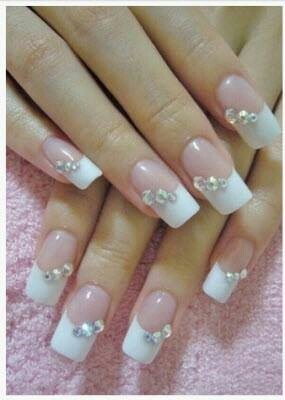 french tip and diamond studs nails wedding