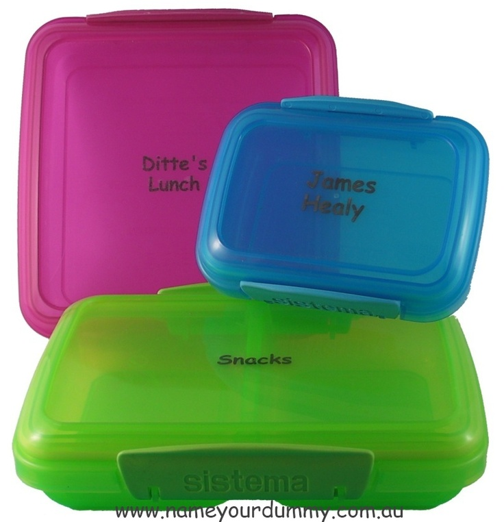 Personalised/permanently marked Sistema Klip-it containers - priced $6.00-7.50 - great for back to school