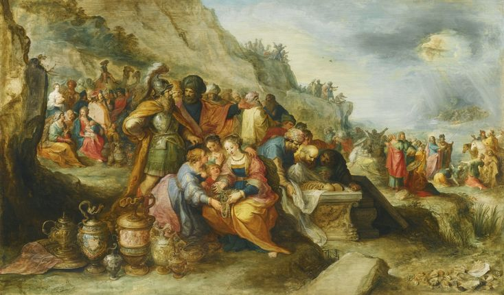 Frans Francken the Younger ANTWERP 1581 - 1642 THE ISRAELITES, AFTER CROSSING THE RED SEA, AT THE TOMB OF THE PATRIARCH JOSEPH signed and dated lower left: ffranck . IN et f./ Ao.1630 . oil on oak panel 65.6 by 109.5 cm.; 25 3/4  by 43 in