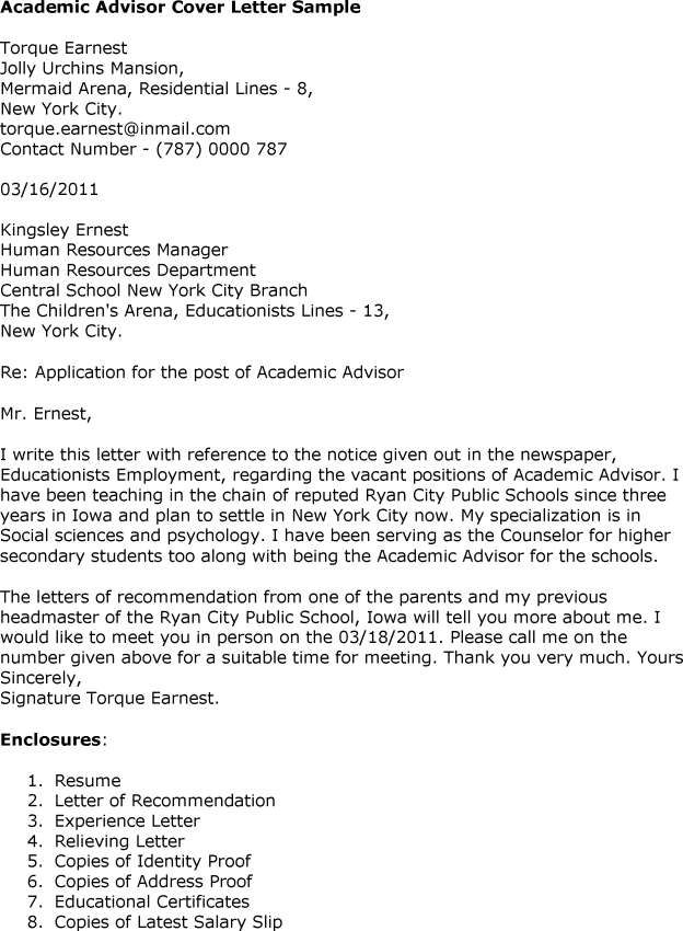 Academic Advisor Cover Letter Whitneyportdailycom. Sample Academic