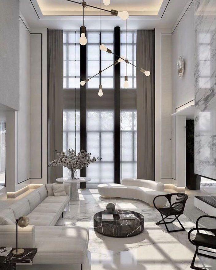 Coolest Mid Century Lighting Designs For Uk Www Delightfull Eu Visit Us For Interior Design High Ceiling Living Room Luxury Living Room Living Room White