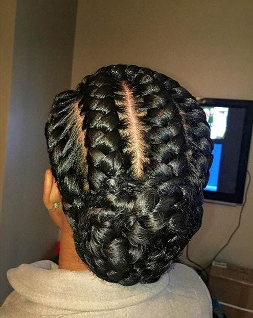Goddess Braids Low Bun Updo