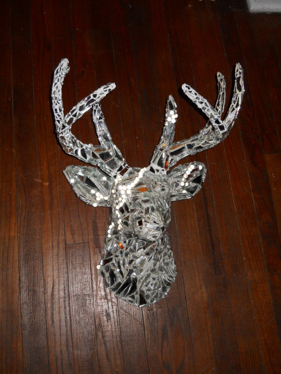 Mirrored Mosaic Deer Head Mount Kingstens Room Decor