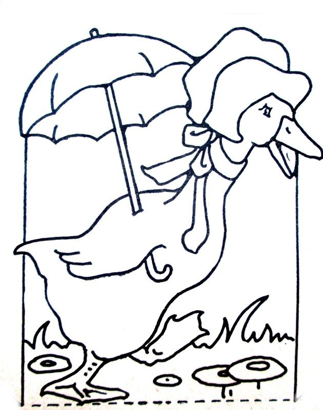 Duck With Unbrella Coloring Page