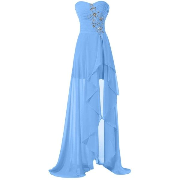 Sunvary High Low Strapless Chiffon Bridesmaid Evening Dresses Prom... ($70) ❤ liked on Polyvore featuring dresses, gowns, long gowns, blue gown, long prom dresses, long blue dress and blue prom dresses