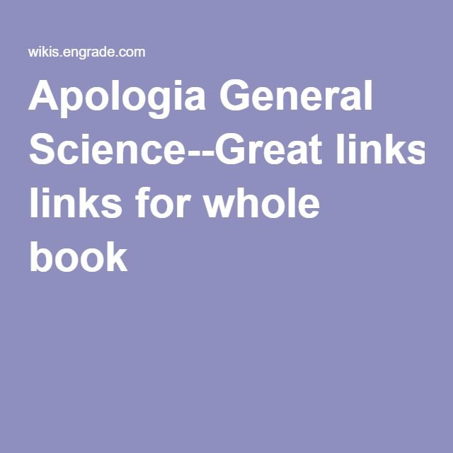 Apologia General Science--Great links for whole book
