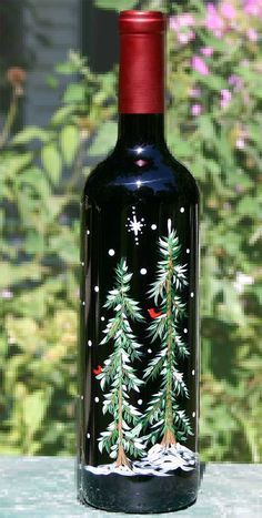 Examples Of Painted Wine Bottles | ... Hand Painted Wine Glasses and Painted Wine Bottles at Corkscrew Pointe