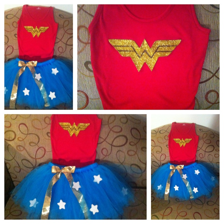 Wonder Woman Tutu Costume. So cute! Might just consider this for Halloween...