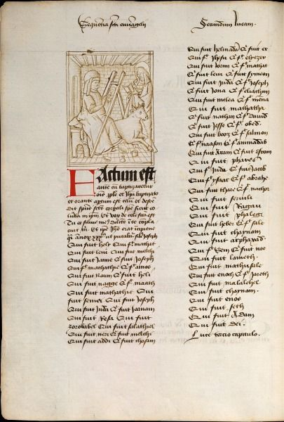 De H. Lucas schildert Maria. Tekening van Miélot naar de schets van Jan De Tavernier Jean Miélot, Verzamelbundel Jean Miélot. Parijs, BNF, ms. fr. 17001, f. 41v