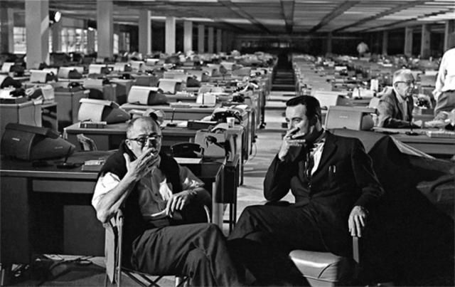 Billy Wilder and Jack Lemmon on the set of The Apartment (1960)