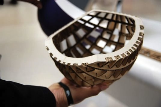 This is cool - just don't ride in the rain.  cardboard bicycle helmets - able to absorb 4 times more collision force than a conventional polystyrene core helmets