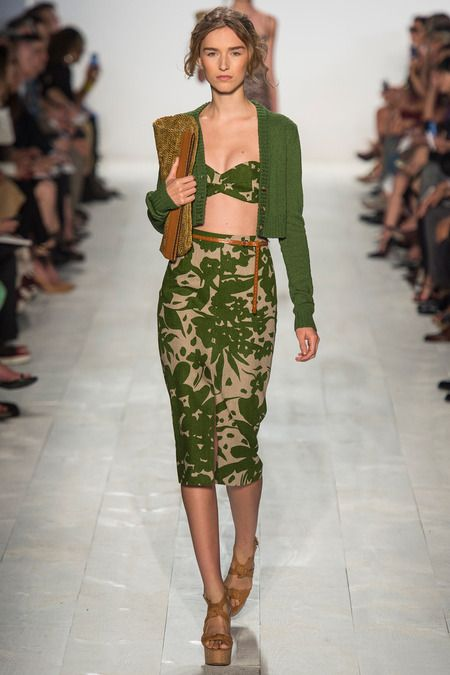 Michael Kors Spring 2014 Green Cardigan and Leaf Print Pencil Skirt