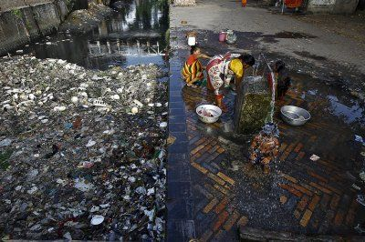 World Water Day 2016A boy bathes under a communal tap near a polluted water channel early one morning in Kolkata, IndiaReuters