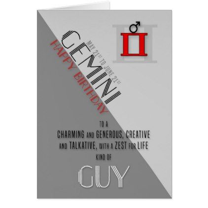 Gemini Birthday for Him May 21st to June 21st Card - birthday cards invitations party diy personalize customize celebration