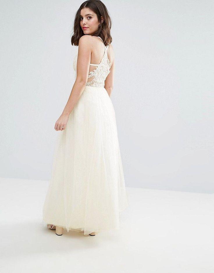 Chi Chi London Petite Strappy Corset Top Maxi Tulle Prom Dress - Cream
