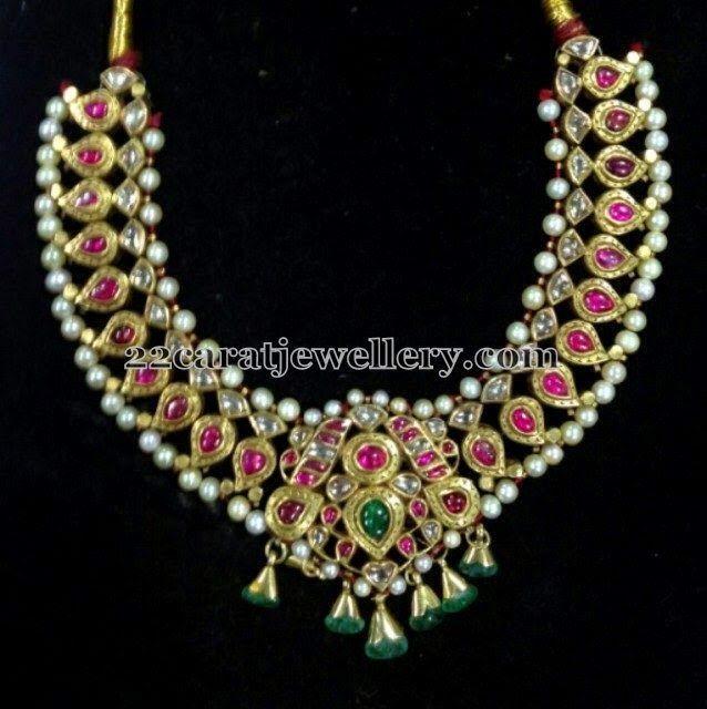 Jewellery Designs: Polki Ruby Antique Set