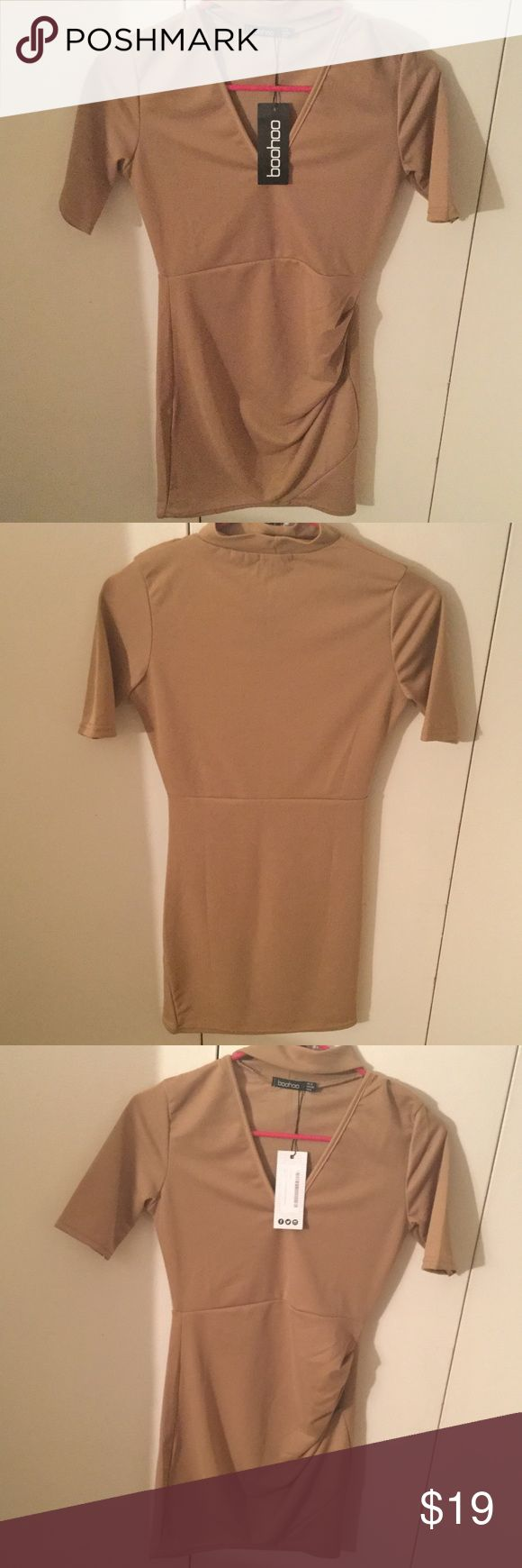 New BooHoo Petite dress size US 4 fits like an xs New with Tags Petite BooHoo Dress color Camel size US 4 UK 8 fits like an extra small. Perfect mini party dress for a Petite girl. I weight 105 Ibs and I'm 5 feet Boohoo Petite Dresses Mini
